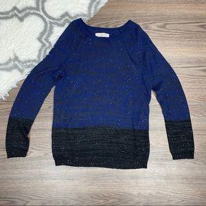 Loft Black and Blue Sequin Sweater Size Medium